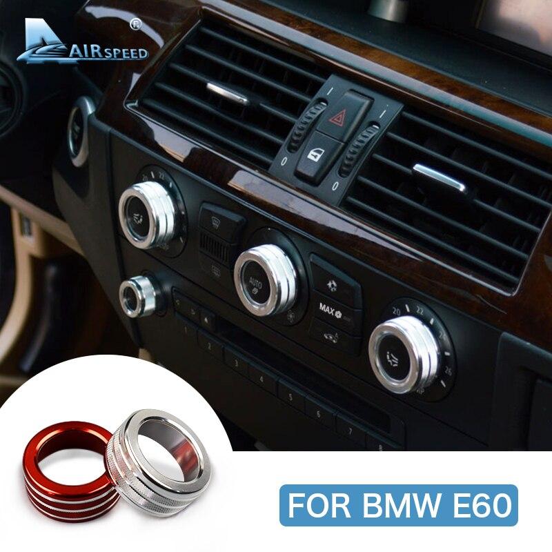 Velocidade do ar para BMW E60 2005-2010 Console Do Carro Ar Condicionado Interruptor Botão de Volume Knob Tampa Anel Carro Decoração de Interiores Styling