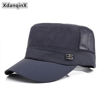 XdanqinX Adult Youth Men Cap Summer Mesh Breathable Military Hats Casual Adjustable Size Flat Cap Snapback Caps Bone Dad's Hat