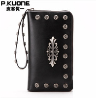 Fashion Men 's Handbags Genuine Leather Rivets Handbags Personal Fancy Tide Men' s Hand Bag Day Clutches bag Wallet