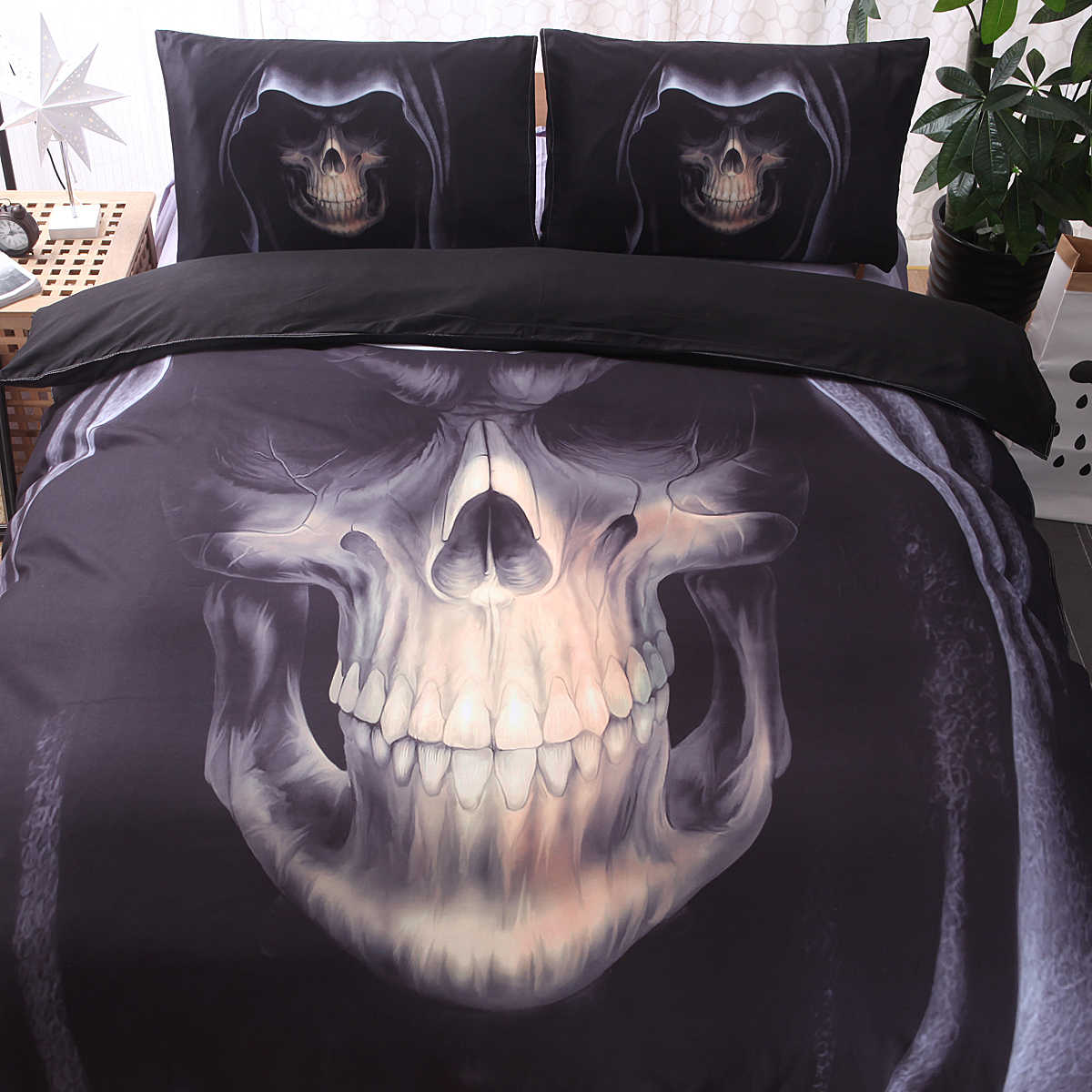 3D Skull Bedding Set Twin Queen King Size 2 / 3 Pcs Rock Skull Duvent Cover Home Bed Linen E