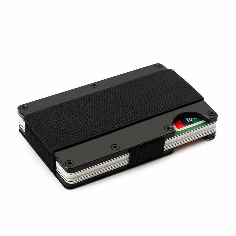 تتفاعل محفظة معدنية الطيار Nfc السفر الألومنيوم حامل بطاقة الائتمان مع محافظ المال كليب