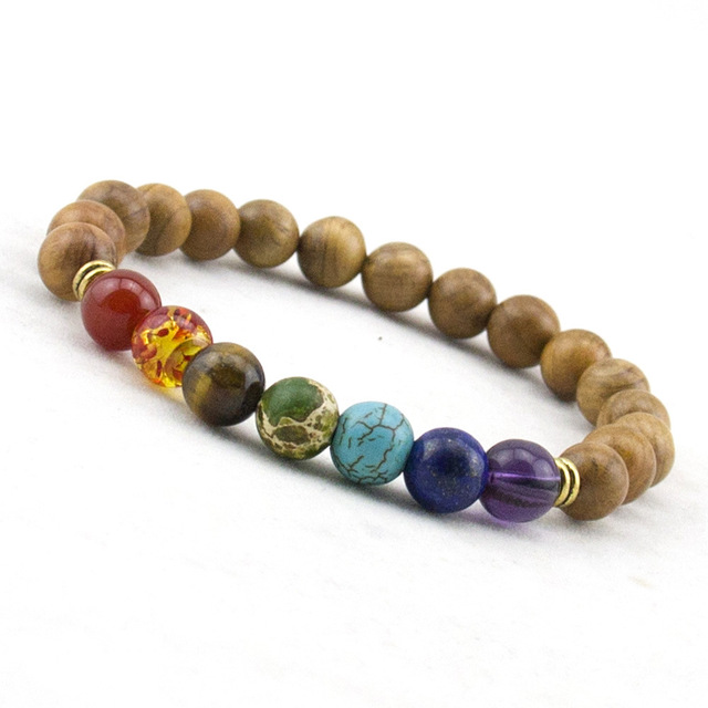 Trendy Mens Natural Wooden Beaded Root Chakra Bracelet 7 Yoga Meditation Mala Beads Bracelets
