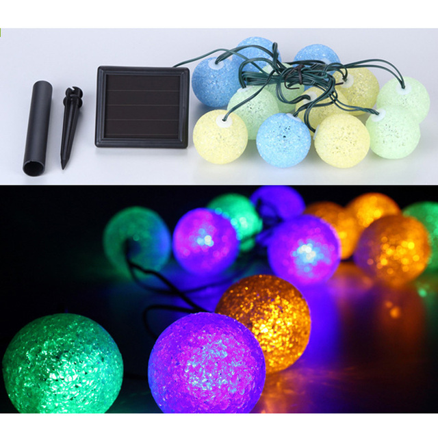 led solar light string plastic colorful ball string outdoor waterproof landscape lights christmas decoration lights - Solar Light Christmas Decorations