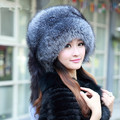 Silver Fox Fur Ushanka Hat 100%Real Fur . Silver fox With a fox tail, ear cap woman winter hat great circle