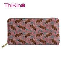 Thikin Puppy Long Wallet for Lady 3D Floral Paint Women Purse Girls Shopping Notecase Cute Teen Girl Burse Handbag