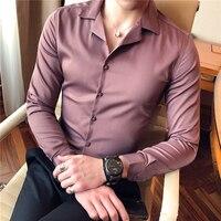 Spring 2018 new men's fashion trend shirt men's shirt men's long sleeve Korean Slim type business casual shirt