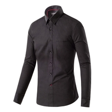 New Fashion Slim Fit Solid Black Color Cotton High Quality Casual Shirt Men s Social Dress