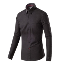 New Fashion Slim Fit Solid Black Color Cotton High Quality Casual Shirt Men's Social Dress Shirt Full Sleeve Turn Down Collar