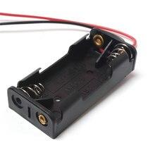 20 stks/partij 2x1.5 v AAA Plastic Zwarte Lente Batterij Storage Case Batterij Houder batterij AA Pack Met Zwart & wit 150mm Draad Leads