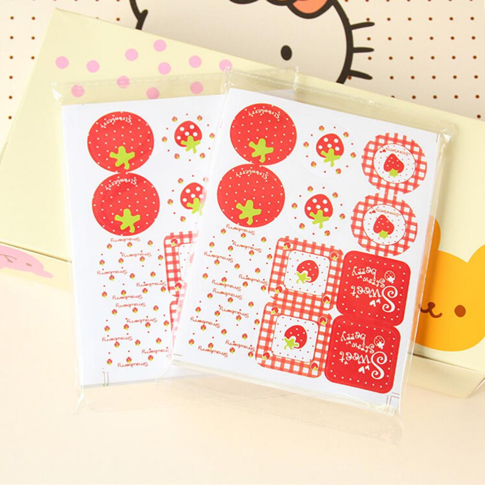 Scrapbook paper and stickers - Wholesale 24pcs Lot Cute Strawberry Pattern Scrapbook Paper Sticker Label Adhesive Stickers Diy Decoration Gifts