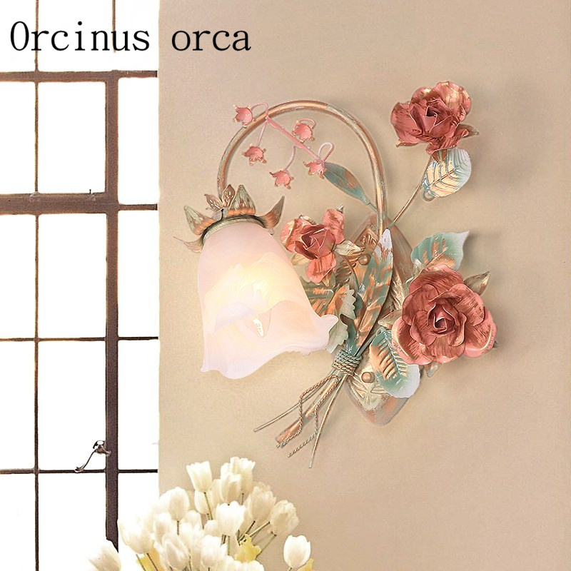 Korean Garden Flower Wall Lamp Balcony Bedroom Rose Iron Wall Lamp Free Shipping