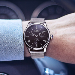 Nowy Parnis 41.5MM mechaniczny automatyczny męski zegarek różowe złoto Case rezerwa chodu męskie zegarki relogio masculino luksusowej marki 2019 w Zegarki mechaniczne od Zegarki na