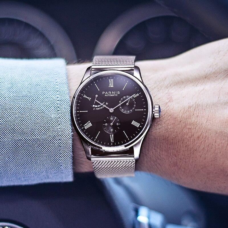 Automático dos Homens Case de Reserva de Energia Novo Parnis Relógio Mecânico Rosa Ouro Relógios Masculinos Masculino Marca Luxo 2020 41.5mm