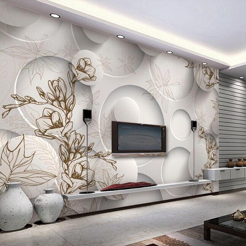 Papier peint personnalisé Photo 3D stéréo Magnolia cercle Mural papier peint salon canapé TV toile de fond moderne sans couture revêtement Mural