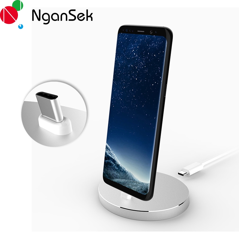 Ngansek Type C USB Desktop For Huawei P10 Nova 2 Charging Dock Station for Google Pixel S8 Plus Note 8 Charger Cradle Stand