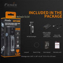 105° Adjustable Angle Head Fenix WT20R 400 Lumens Multifunctional Flashlight with Li-polymer Battery Pack(China)