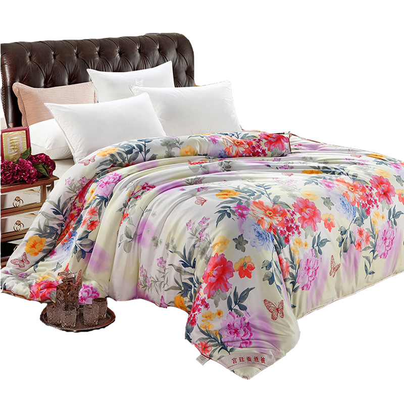 3D Flower Print Mulberry Silk Blanket Spring Autumn Warm Soft Patchwork Quilt Twin Full Queen King