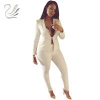 Women Slim White Pants Suits 2017 New Fashion Celebrity Long Sleeve One Button Suits And Pants