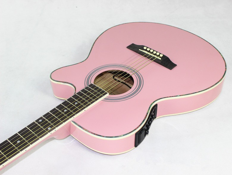 все цены на Pink color guitars 40-43 40 inch high quality Electric Acoustic Guitar Rosewood Fingerboard guitarra with guitar strings онлайн