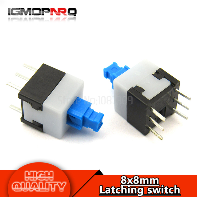 , 20PCS 8X8 8*8 mm 6Pin Push Tactile Switch Self lock /Off button Latching switch Wholesale Electronic