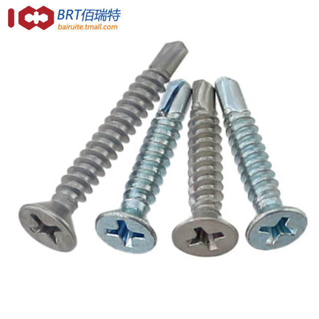 US $9 0 |Promotional 410 stainless steel flat head self drilling screws  zinc plated blue countersunk head Phillips self drilling screws M-in Screws