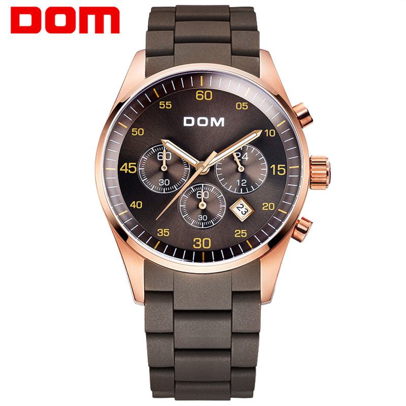 DOM Men mens watches top brand luxury waterproof quartz stainless steel sport  for  gold  -540