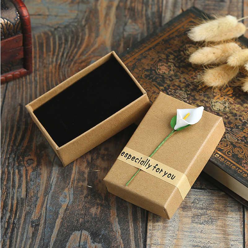 Mode Hohe Qualität 3 Größe Retro Papier Schmuck Box Lagerung Fall Blume Armband Kraft Papier Brief Geschenk Box Schmuck