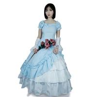 ac1fbbb4c2b245 Lolita Women Long Ball Gown Princess Dress Victorian Bow Blue Party Cosplay  Dress Halloween Costumes