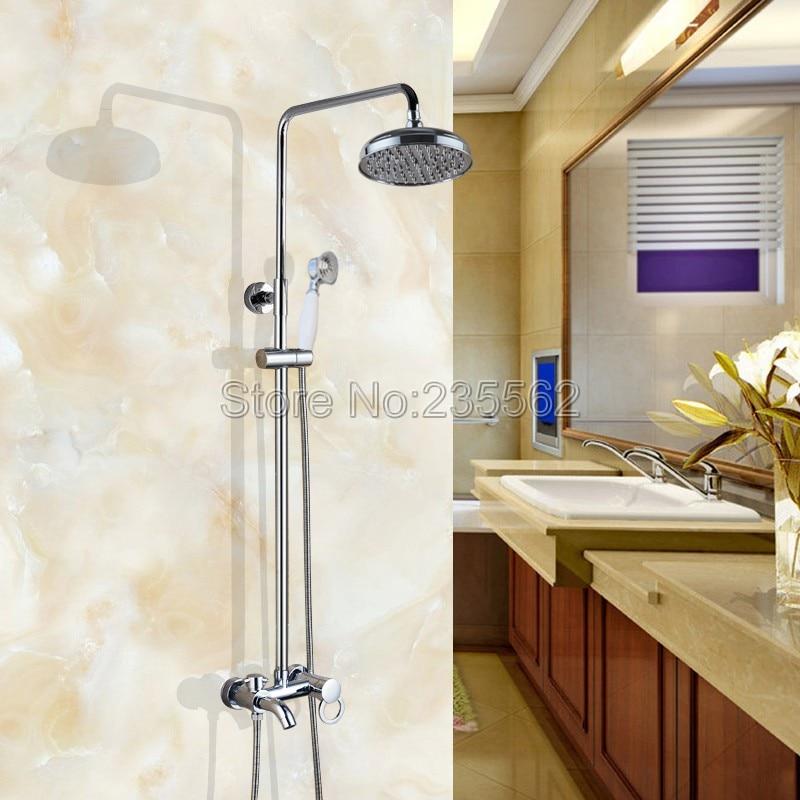 Modern Wall Mounted Chrome Brass Rainfall Bathroom Rain Shower Faucet Set Single Handle Tub Mixer Tap + Hand Shower Spray lcy332