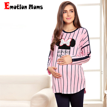 Emotion Moms Maternity Clothes Long sleeve Breastfeeding Sleepwear Nursing Pajamas for Pregnant Women nightgown