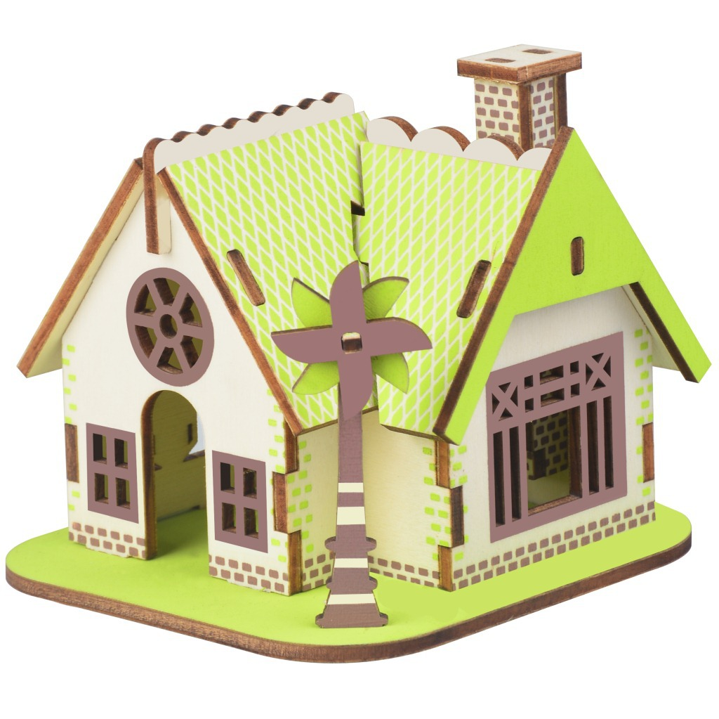 Laser Cutting 3D Wooden Puzzle Jigsaw Construction Ellie House DIY Manual Assembly Kit Kids Educational Wooden Toys For Children