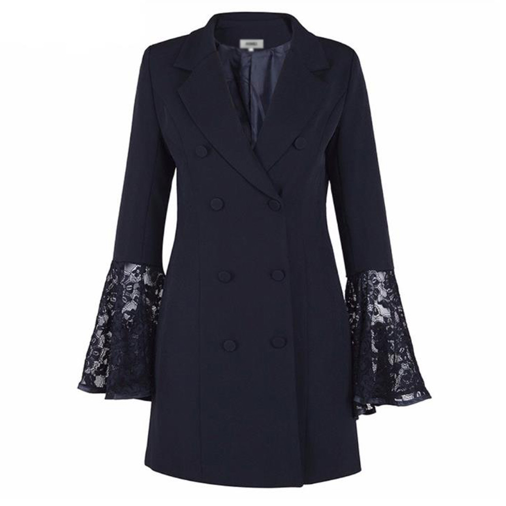 Robe Blazer grande taille femme Double boutonnage boutons dentelle manches longues Kimono Cardigan moulante costume veste robe Robes Vestidos