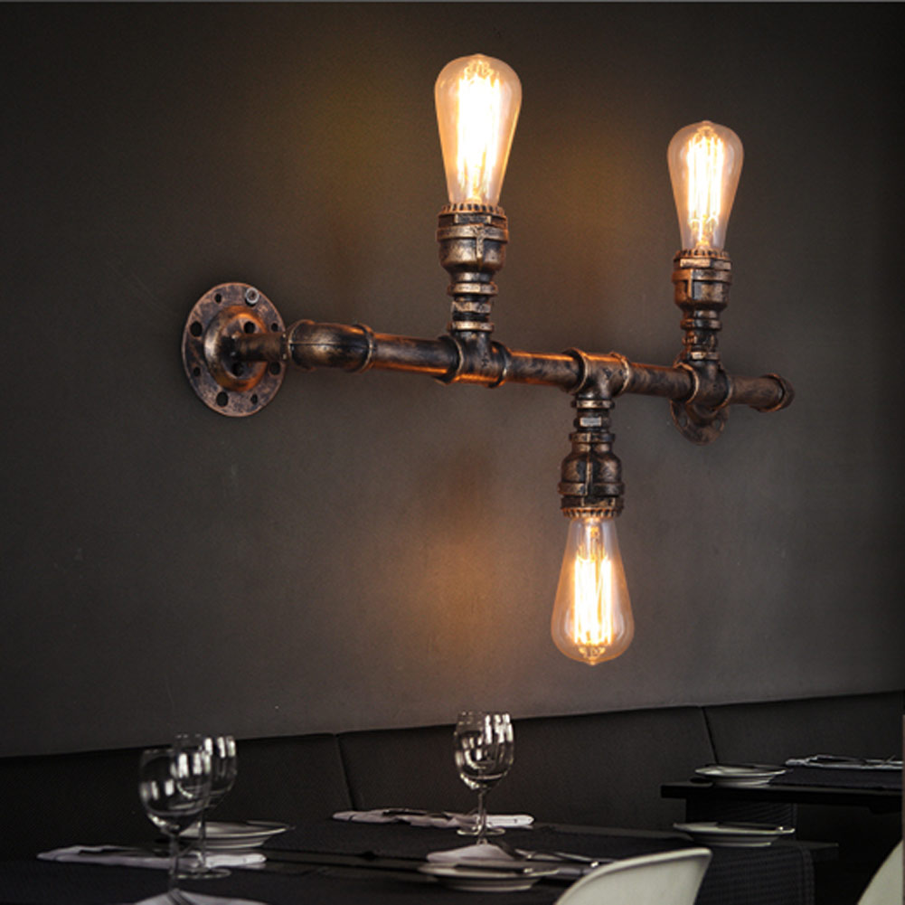 Retro 3 Heads Iron Water Pipe Wall Lights Loft American Country Industrial E27 Corridor Aisle Indoor Lighting Wall Lamps Sconce fumat loft american vintage industrial aisle wall lamps corridor balcony wall light restaurant bar iron water pipe sconce