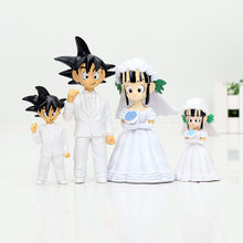 7.5 cm 11 cm Dragon Ball Z Figura New Japan Anime Dragon Ball Goku ChiChi Casamento PVC Brinquedos Figura(China)