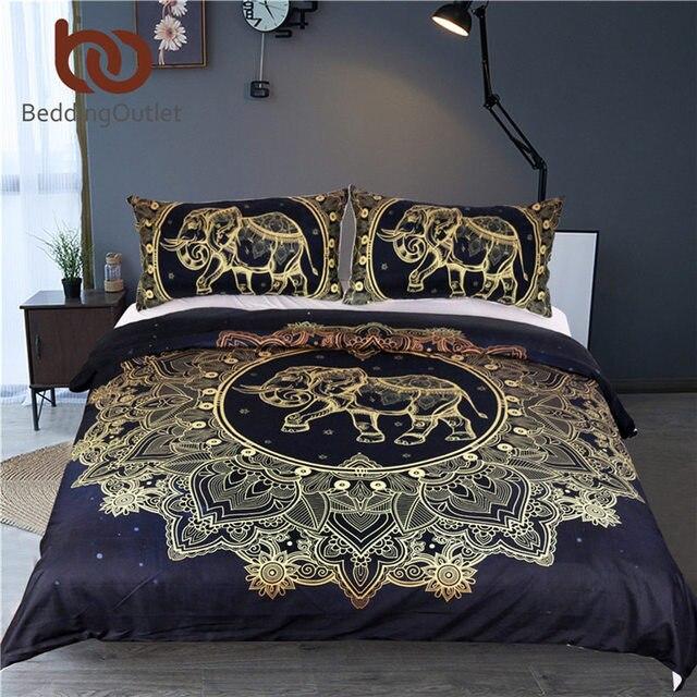 beddingoutlet mandala fleurs housse de couette avec taie d 39 oreiller noir fonc bleu ensemble de. Black Bedroom Furniture Sets. Home Design Ideas
