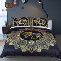 Beddingport ماندالا الفيل حاف الغطاء مع المخدة الأسود الذهبي طقم سرير الملكة حجم بوهو طقم سرير غطاء لحاف|elephant duvet cover|quilt coverduvet cover -