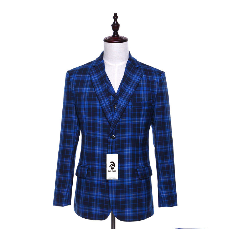 FOLOBE Wool Blue Plaid English Style Blazer Fashion Slim Fit Jacket Masculine Blazer Coat Suit Men Formal Suits jacket