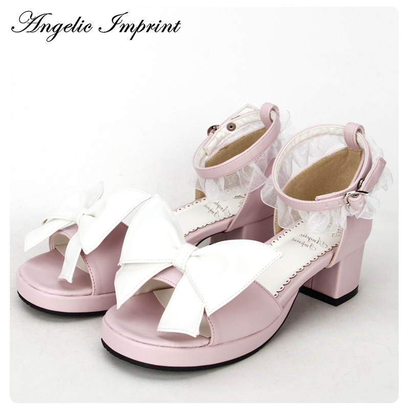 New Arrivals Pink and White Big Bow Sweet Lace Ankle Strap Princess Sandals Girls Lolita Summer Shoes new arrivals pale pink shiny leather kawaii rabbit ankle strap sweet lolita shoes 5 5cm heel pumps