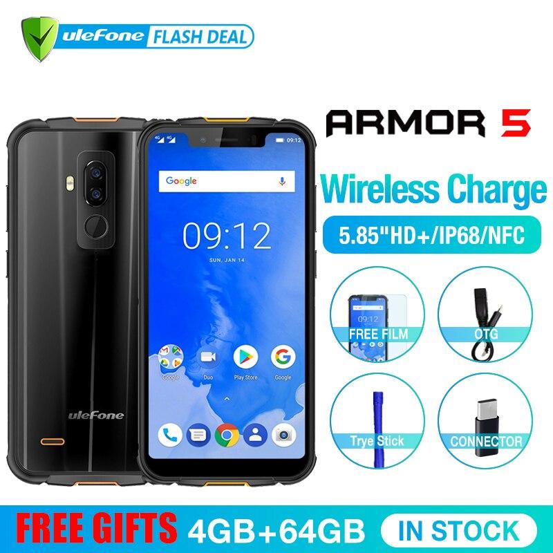 Ulefone Armure 5 Étanche IP68 NFC 5.85 HD + Mobile Téléphone MT6763 L'atco-core Android 8.1 4 GB + 64 GO Sans Fil charge Visage ID 5000 mAh