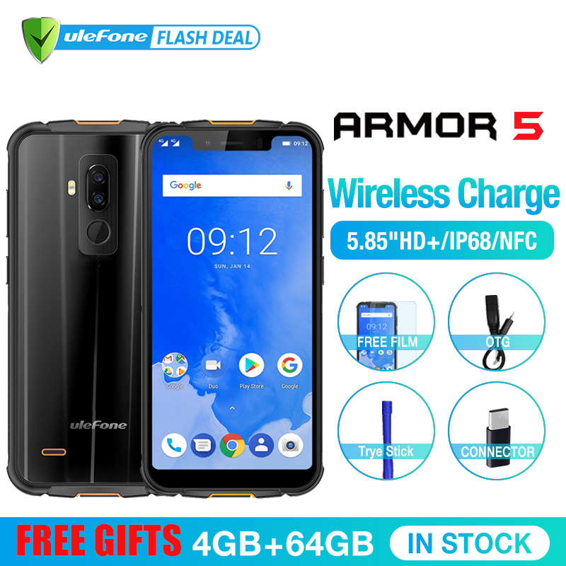 Ulefone Armor 5 Waterproof IP68 NFC 5.85 HD+ Mobile Phone MT6763 Otca-core Android 8.1 4GB+64GB Wireless charge Face ID 5000mAh