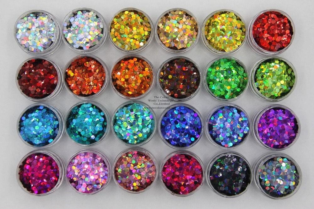 24 holographic colors Round Dot shape 3MM Size Glitter sequins for Nail and Art DIY decora 3mm size white with blue light shinning colors glitter butterfly shapes amazing sparkles for nail art and diy supplies1pack 50g
