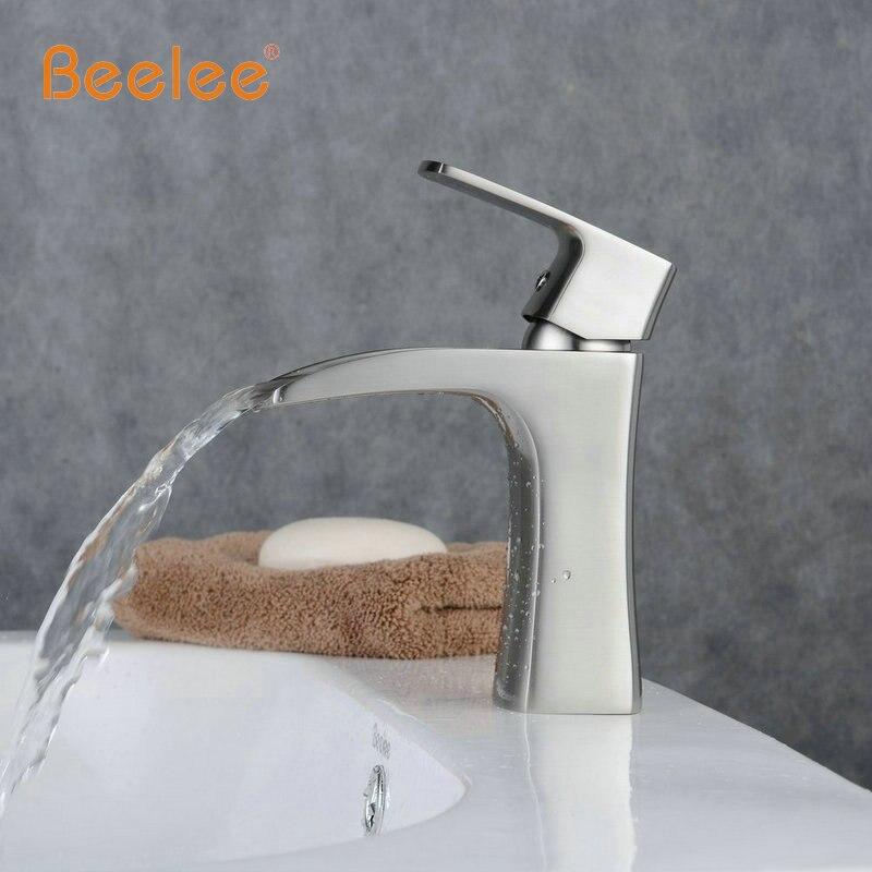 Beelee Contemporary Nickel Brushed Waterfall Bathroom Sink Faucet ...