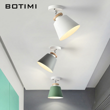 BOTIMI Metal LED Ceiling Lights For Corridor Nordic Wooden Mounted White Green Gray Kitchen Lighting