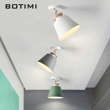 BOTIMI Metal LED Ceiling Lights For Corridor Nordic Wooden Ceiling Mounted White Green Gray Kitchen Lighting - DISCOUNT ITEM  45% OFF All Category