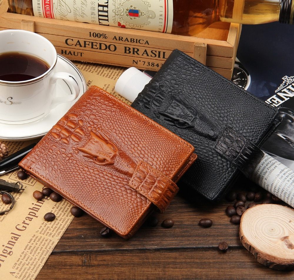 newest models, high-quality, men's Genuine Leather, short section, dark button,money clip purse wallet Crocodile pattern 2018# moana maui high quality pu short wallet purse with button