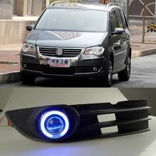 COB Angel Eye Rings Projector Lens with 3000K Halogen Lamp Source Black Fog Lights Bumper Cover For VolksWagen Touran 2008 2010