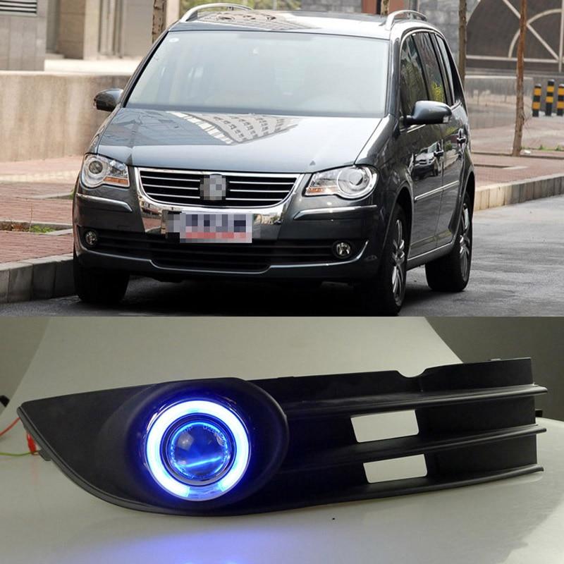 Ownsun COB Ангел глаз Кольца объектив проектора с 3000 К галогенная лампа источник черный Противотуманные фары бампера для VW touran 2008 2010