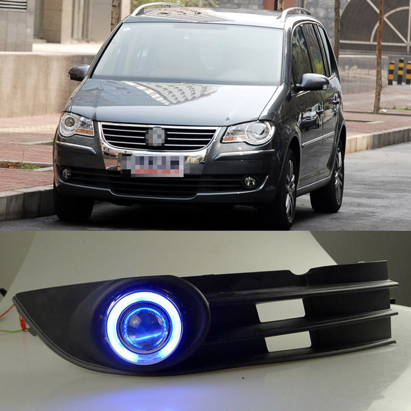 Ownsun COB Angel Eye Rings Projector Lens with 3000K Halogen Lamp Source Black Fog Lights Bumper Cover For VW Touran 2008-2010 ownsun cob angel eye rings projector lens with 3000k halogen lamp source black fog lights bumper cover for skoda fabia sport