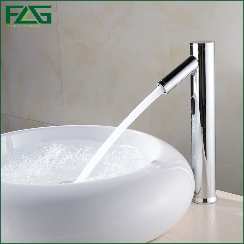 FLG Hands Touch Free 100%Brass Automatic Sensor Faucets Deck Mounted Chrome Polished Water Mixer Sense Faucet Basin Hand Washer женские часы jacques lemans 1 1867c