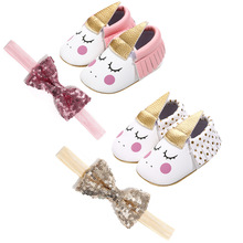 New Unicorn Baby Shoes PU Leather Soft Sole Toddlers Boy Girl Moccasins First Walker with Bow Headband for Party